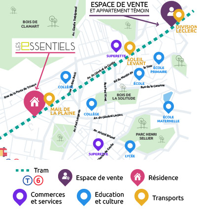 Cartographie programme immobilier neuf Les Essentiels grand canal Clamart