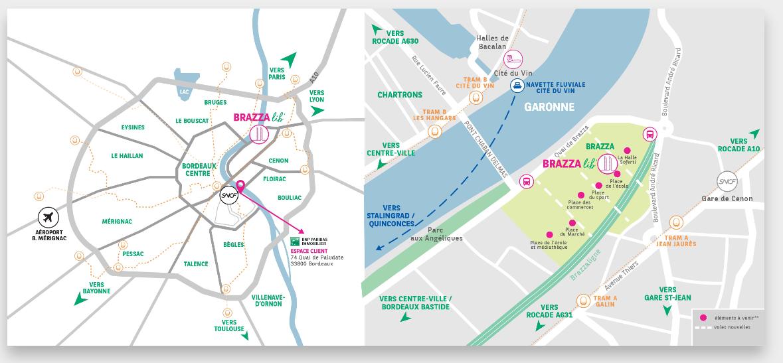 Carte programme Brazza Lib volumes Capables à Bordeaux - programme neuf bnp paribas immobilier